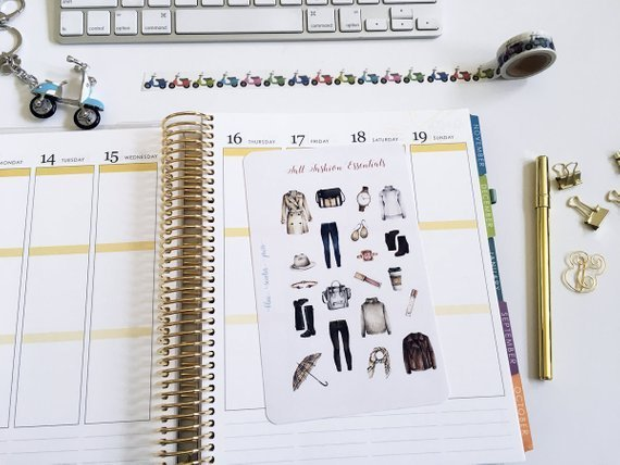 Fall Fashion Bullet Journal and Planner Stickers