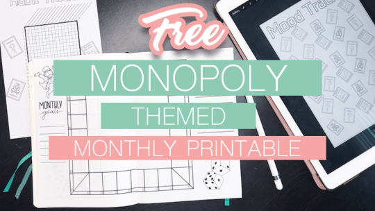 Free Printable Monopoly Bullet Journal Monthly Setup