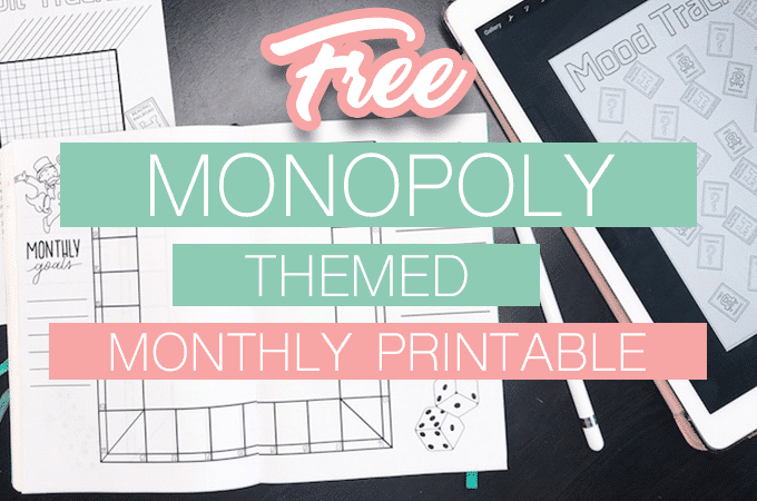 Free Printable Monopoly Monthly Bullet Journal Setup