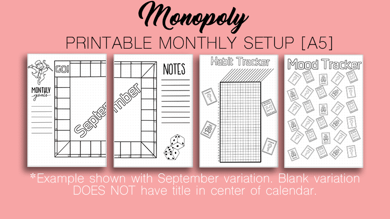 "Free Monthly Bullet Journal Setup"" Monopoly Theme"