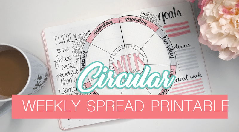 Circular Weekly Spread Printable for Your Bullet Journal