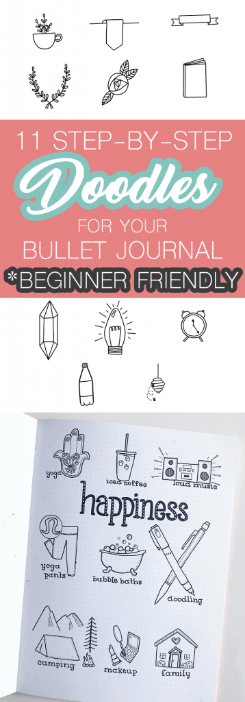 Simple Planner Doodles for your Bullet Journal with step-by-step instructions