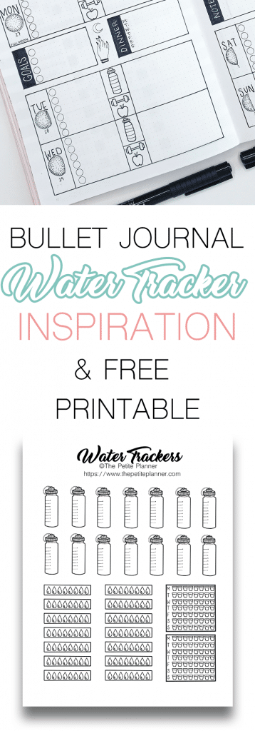 Bullet Journal Water Tracker Inspiration and Free Printable