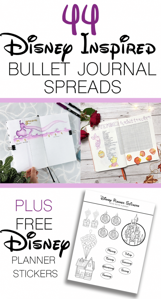 44 Disney Inspired Bulled Journal Page Ideas plus free printable Disney planner stickers