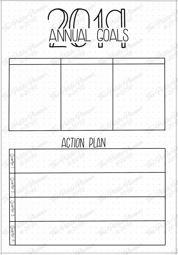 2019 Annual Goals Bullet Journal Printable