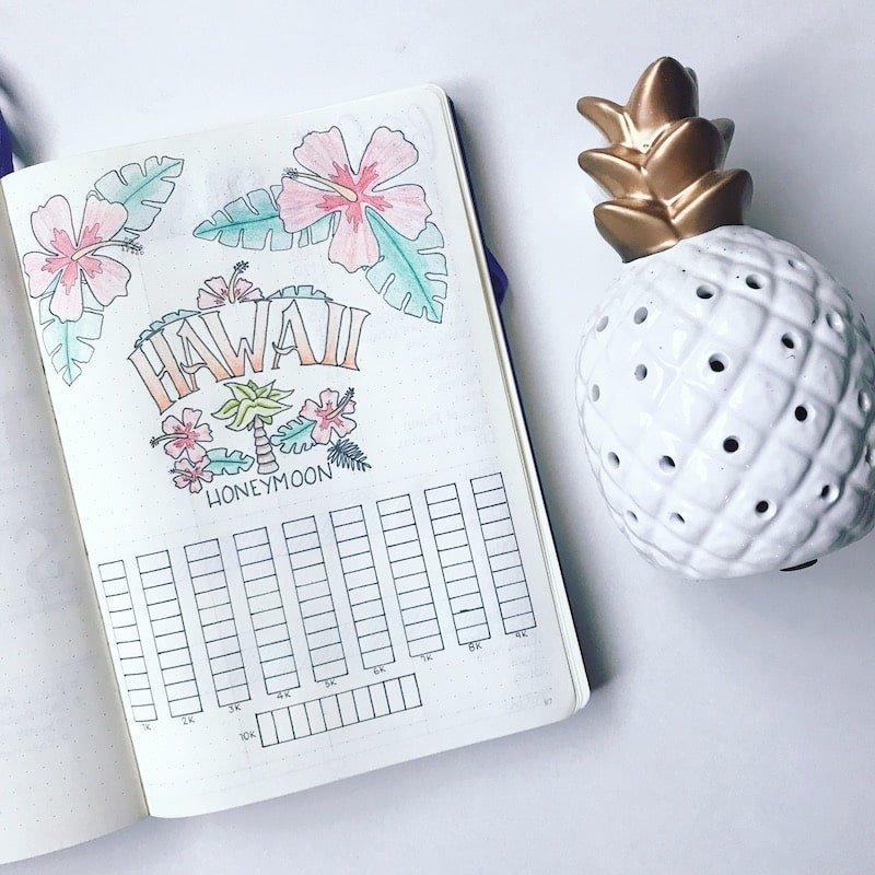 Bullet Journal Vacation Savings Tracker
