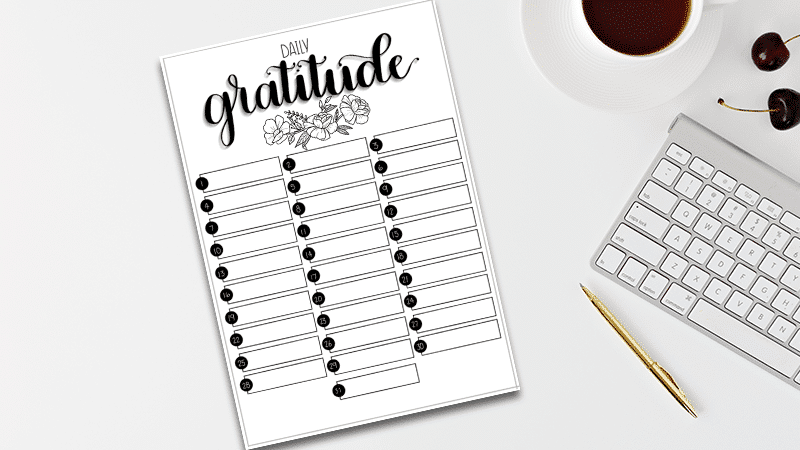 Free Printable Gratitude Log for Your Bullet Journal