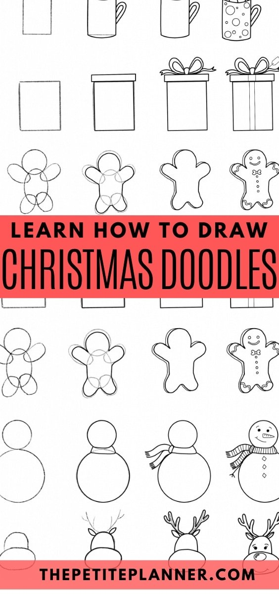 Free printable guide to learn how to draw Christmas Doodles