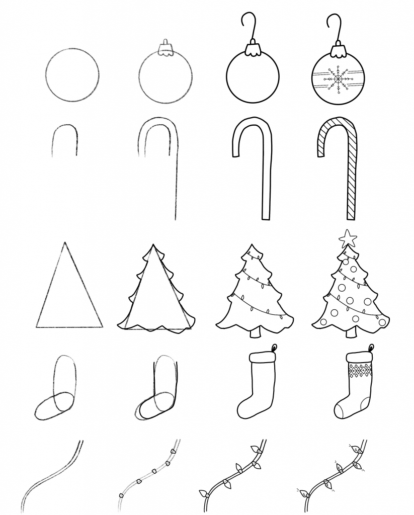 Christmas Doodles for Your Bullet Journal + Free Printable Step-by-Step-Guide