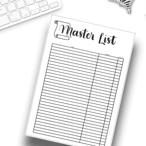 Printable Master List for your Bullet Journal