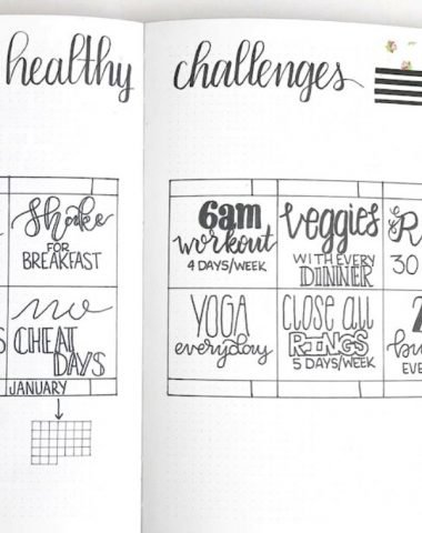 Healthy Challenges to put in your journal or planner