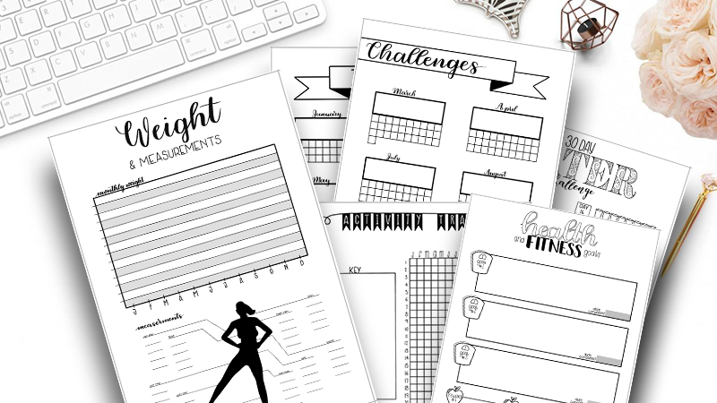 photo relating to Printable Fitness Journals identified as Conditioning and Health and fitness Bullet Magazine Package