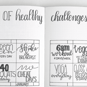 12 months of healthy challenges in your bullet journal