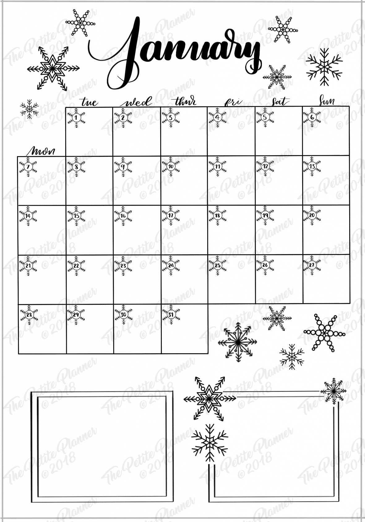 photo about Bullet Journal Calendar Printable named January 2019 Bullet Magazine Set up