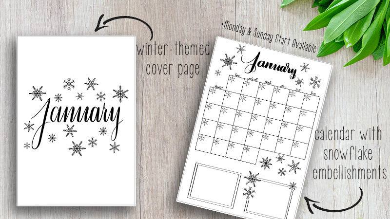 Printable January 2019 Bullet Journal Setup