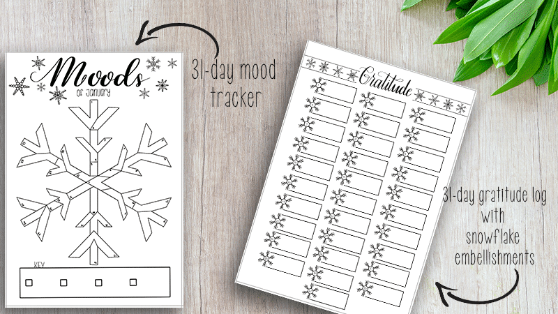 Super Cute Winter Themed Mood Tracker and Gratitude Log Printable