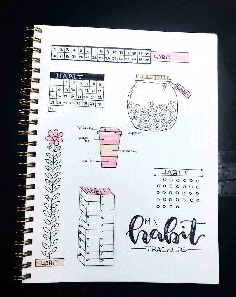 Habit Tracker Designs to Try in Your Bullet Journal in 2019
