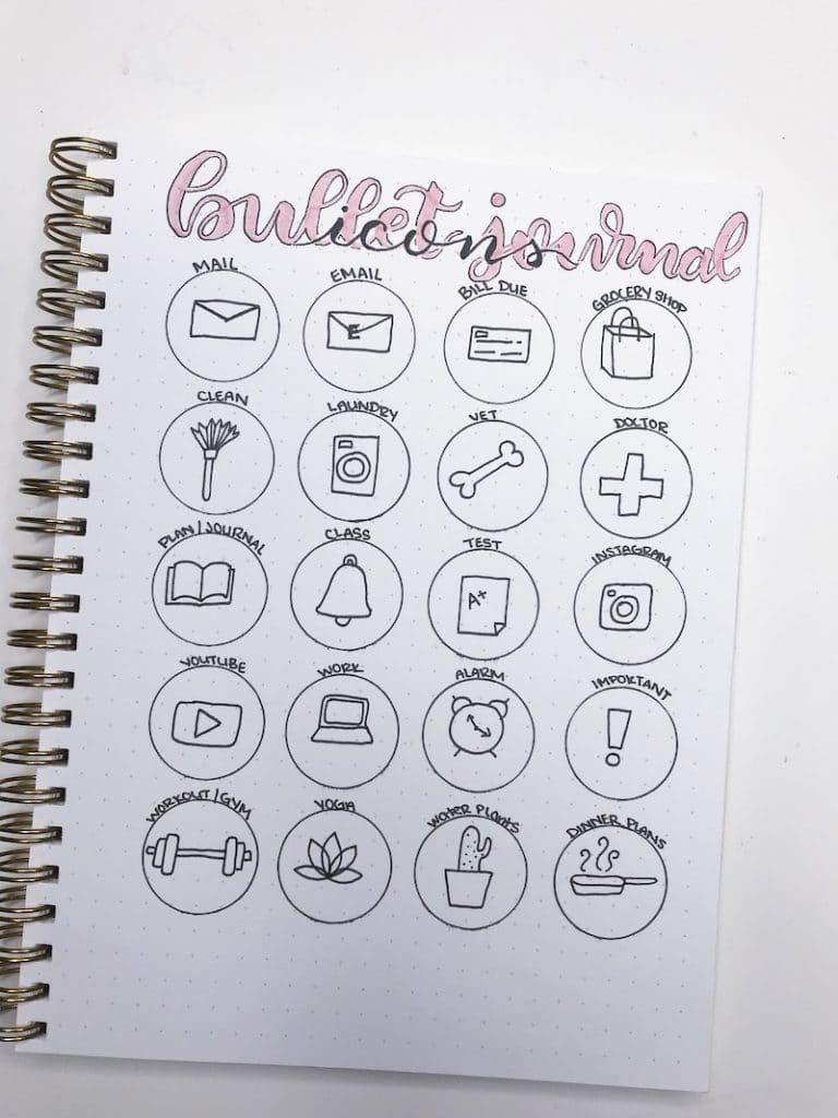 Drawing Simple Icons in Your Bullet Journal to Increase Productivity