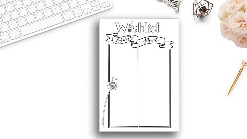 Bullet Journal Wishlist Printable