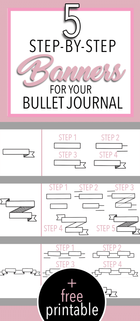 5 Simple Beginner Friendly Banners to Draw in Your Bullet Journal with Step by Step tutorial and free printable practice sheet