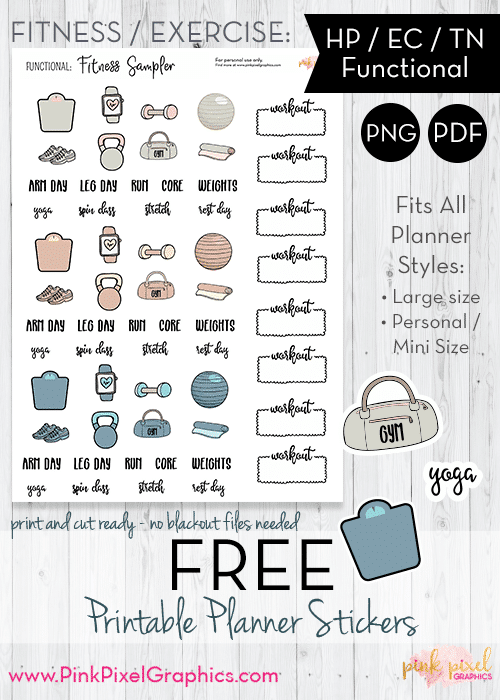 Free Printable Weight Loss Stickers for your Bullet Journal or Planner