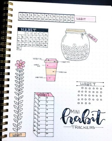 Examples of mini habit trackers for bullet journals