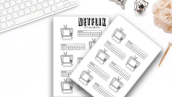 Netflix and TV Show Tracker Printable for your Bullet Journal