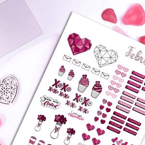 February Bullet Journal Sticker Pack: Valentine's Day Themed