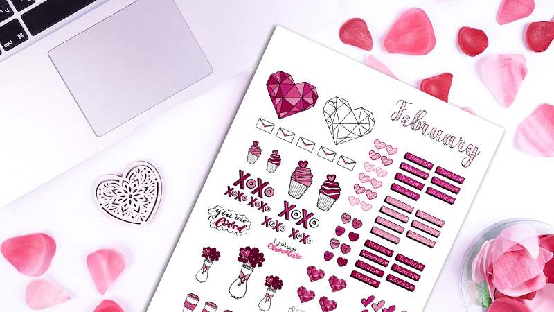 February Bullet Journal Sticker Pack: Valentine's Day Themed