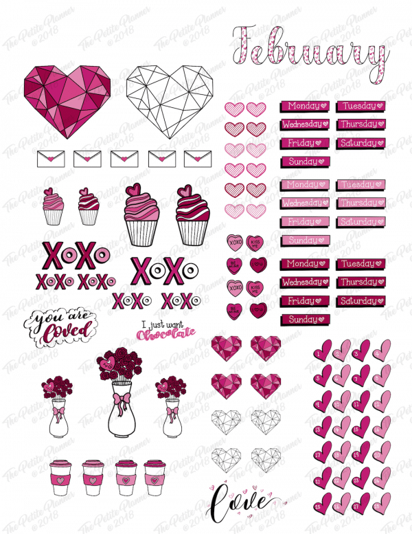 February Bullet Journal Stickers Printable: Valentine's Day Themed
