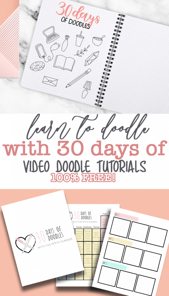 Learn to Doodle in 30 Days! #0 Days of Bullet Journal Doodles with video tutorials and free workbook