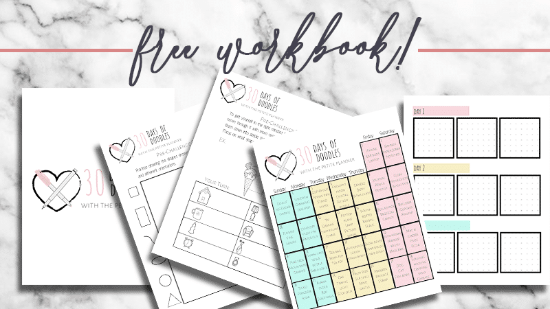Learn to Doodle in 30 Days! Follow along with daily bullet journal doodle videos and your free workbook
