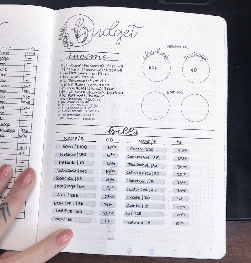Bullet Journal Bill Tracker Layout