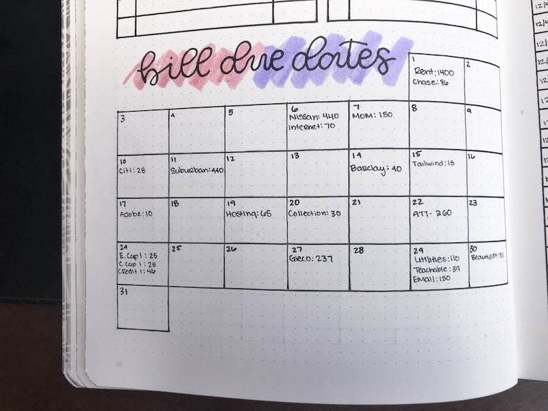 Bullet Journal Bill Tracker and Budget Plan
