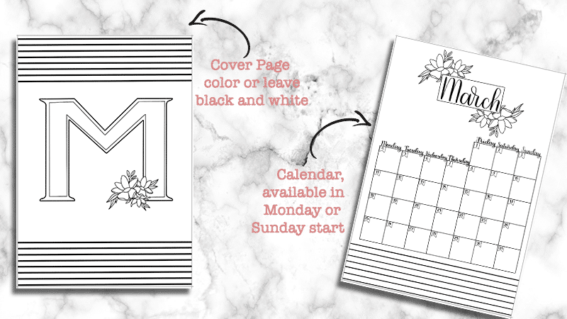 Printable March Bullet Journal Monthly