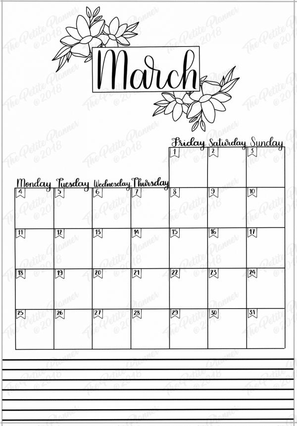 March 2019 Printable Bullet Journal Kit