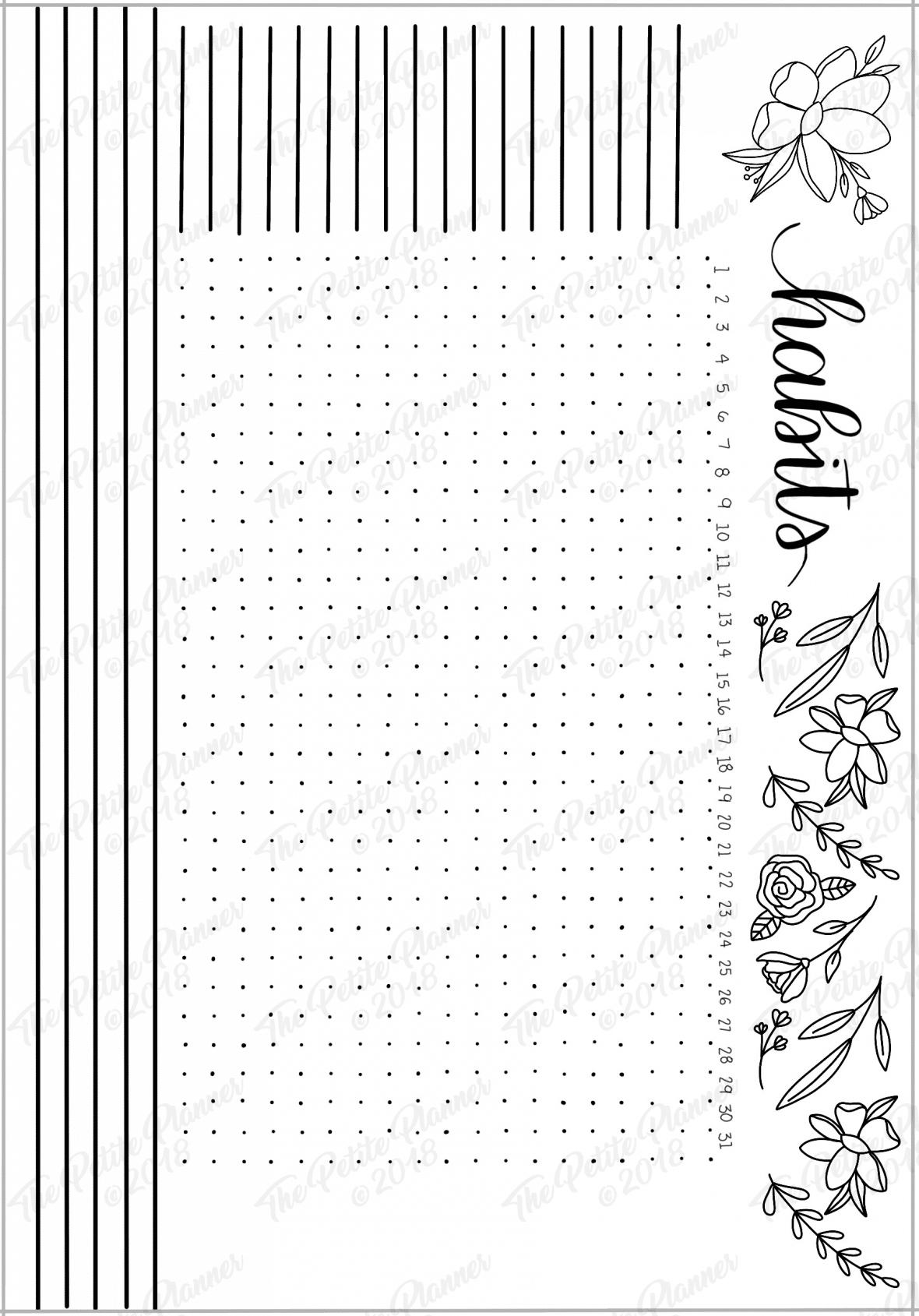 March 2019 Printable Bullet Journal Setup - The Petite Planner