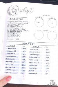 Bullet Journal Bill Tracker Layout