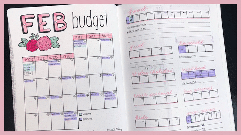 Bullet Journal Bill Tracker Calendar Layout, Ideas, and Inspiration