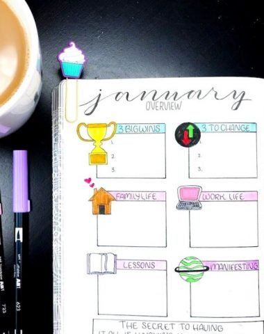 Bullet journal on table with a pen and mug of coffee