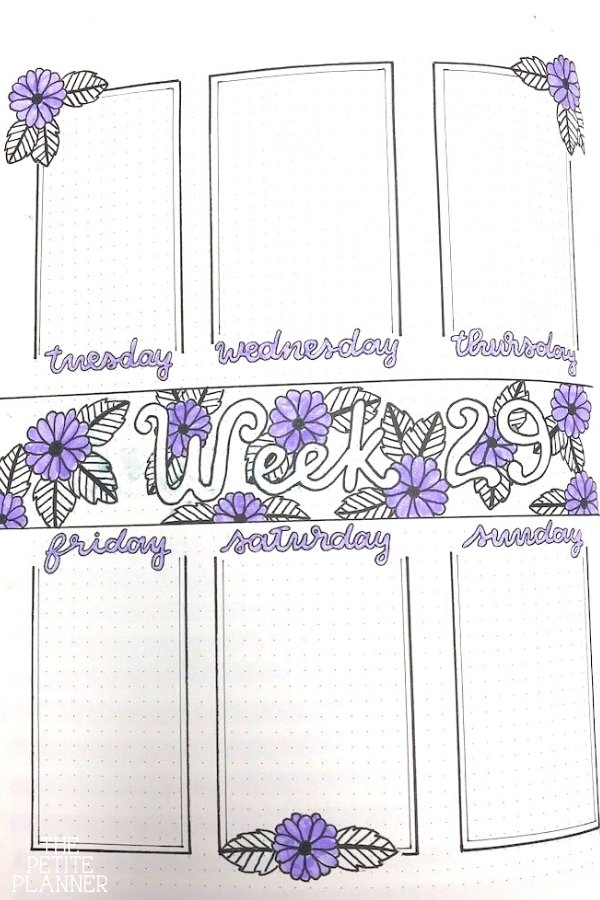 Bullet Journal Weekly Layout with purple flowers