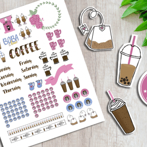 Printable Coffee Planner Stickers for Your Bullet Journal or Planner