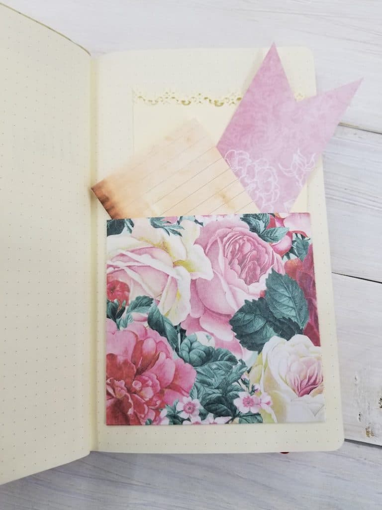 Adding a Pocket in your bullet journal with scrapbook paper