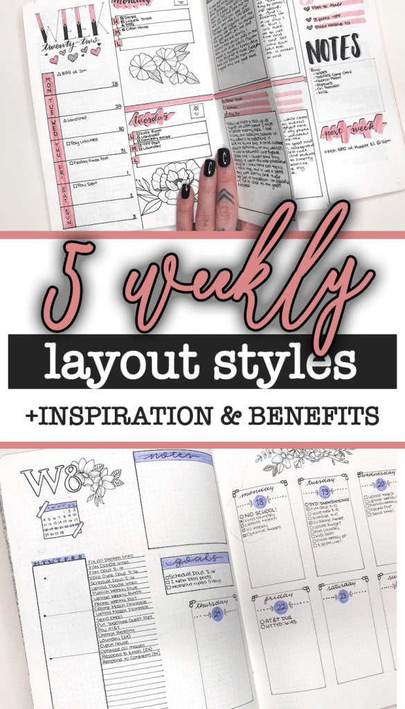 Need help finding a bullet journal weekly layout that works for you? Let me help with this list of 5 different weekly styles with inspiration and benefits of each.