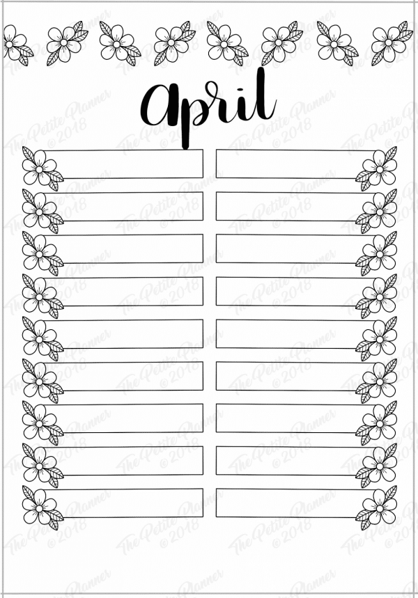 April 2019 Printable Gratiude Log