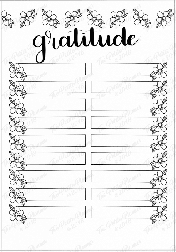 April 2019 Printable Gratitude Log