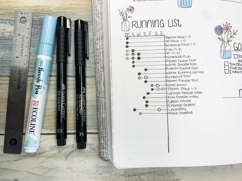 Running Task list in your bullet journal