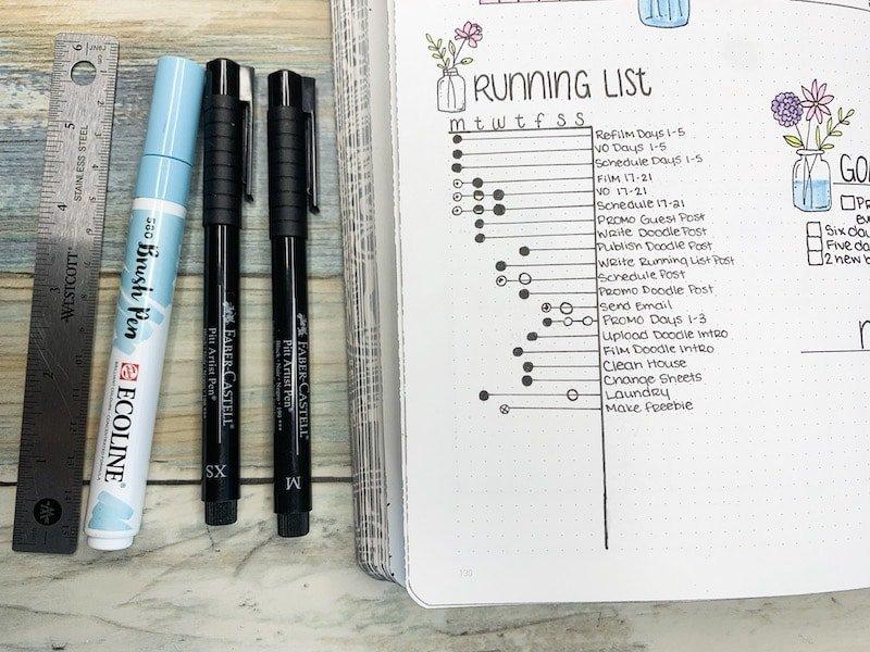Running Task list in your bullet journal