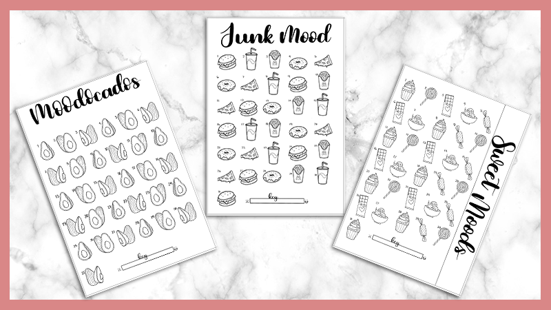 photo regarding Printables Food titled 3 Free of charge Foods Themed Temper Tracker Printables - The Pee Planner