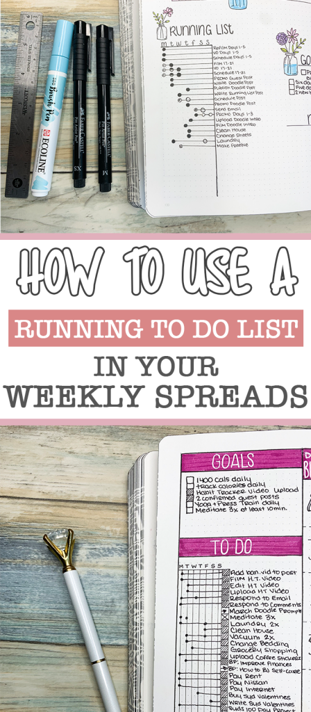 How to Use a running to do list in your bullet journal weeklies to be more productive